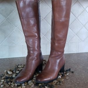 Naturalizer Brown Leather Wide Calf Boots